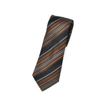Kenneth Cole Brown Gray Black Diagonal Stripes Silk Tie Necktie - $9.89