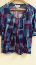 Calvin Klein Boatneck Peasant Top Purple Blue Geometric Print P/L EUC petite - $14.95
