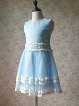 Light-blue Lace Tutu High Waist Dress Blue Flower Girl Dress Birthday Dress NWT image 7