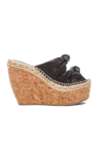 Jimmy Choo Priory Knotted Double Band Wedge Slingback Cork Sandals 35.5- 5.5 New