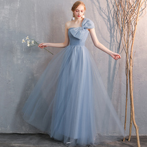 Maxi Bridesmaid Dress Tulle Bridesmaid Dresses with Sleeves Dusty Blue Burgundy
