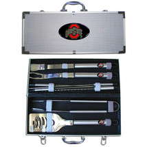 ohio state buckeyes 8 pc tailgater stainless steel bbq set with metal case - $126.34