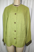 Sigrid Olsen Sport Sz 10 Green Brown Linen Blend Casual Jacket w/ Pockets - $17.73