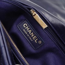 100% AUTH CHANEL CHEVRON QUILTED CALFSKIN ROYAL BLUE MEDIUM COCO HANDLE BAG GHW image 8