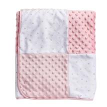 Just Born Patchwork Popcorn Velboa Blanket White Pink Gray Satin Sherpa ... - $49.49