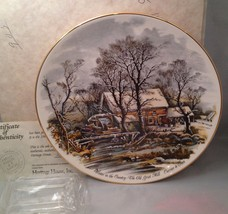 American Homestead - Winter Currier & Ives America Collector Plate w/ COA - $9.75
