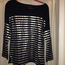 Navy Blue with Silver Stripes: J Crew long sleeved t-shirt knit top