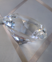Large Diamond Rosenthal Signed Clear Cut Crystal Paperweight - $45.00