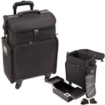All Black Soft_Sided Professional 4-Wheels Carry-on Rolling Makeup Case ... - €136,59 EUR
