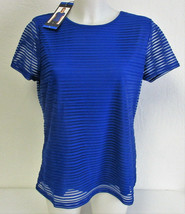 Calvin Klein Women's Stretch Textured Shirt- Regatta (Blue) Size: Large - $10.00