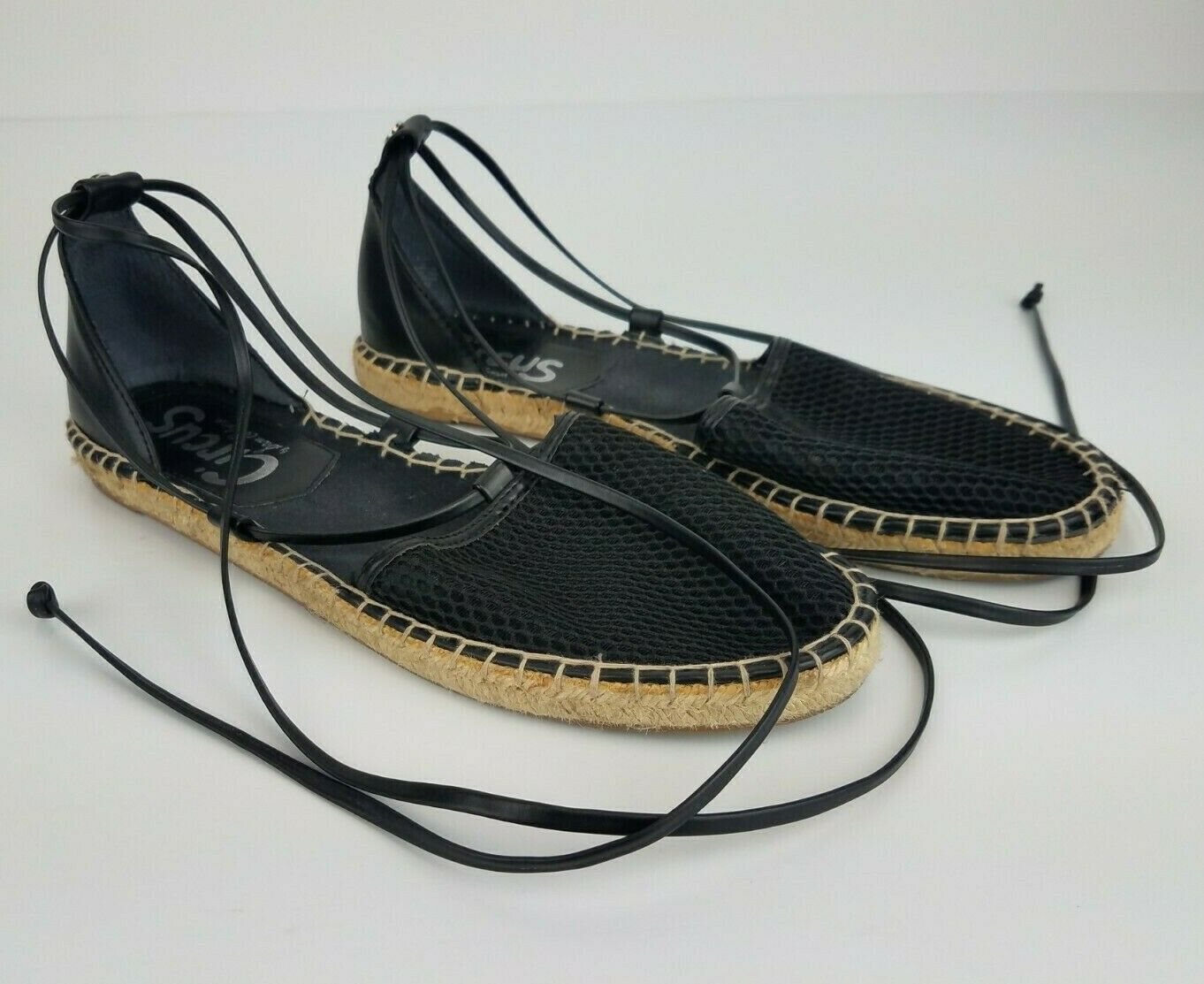 Primary image for Circus Sam Edelman Espadrilles Sandals Ankle Tie Strap Wrap Black Leather 9