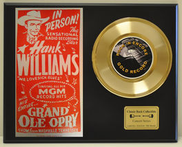 HANK WILLIAMS SR.  LTD EDITION CONCERT POSTER SERIES GOLD 45 DISPLAY SHI... - $88.15
