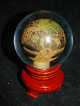 Asian Reverse Hand Painted Glass Globe Orb Dome Chinese Japanese Ball St... - $35.00