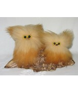 Wooly Critters Co. CA 2 Owl Figurine Fluffy Vintage Collectible Retro 60... - $49.49