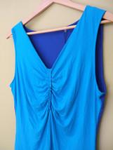 NWT Tahari Designer Doris Knit Blouse Scuba Blue Lagoon Gathered Top L $78 - $58.00