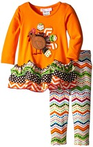 Bonnie Jean Baby Girls 12M-24M Orange Turkey Knit Dress/Legging Set