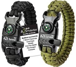 Paracord Bracelet K2-Peak - Compass, Fire Starter, Emergency Knife & Whi... - $8.10+