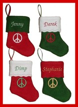"6"" Personalized Embroidered Felt Christmas Stocking with Peace Sign - $3.75"