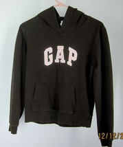 "Girls (M) Brown & Pink ""Gap Stretch"" Hoodie SEWN-ON Text Long Sleeve Cotton Blen - $13.49"