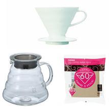 Hario V60 600ml Glass Kettle, Porcelain Dripper, Measuring Spoon & 100 F... - $56.42