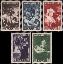 1951 Charitable Acts Paintings Set of 5 Saar Postage Stamps Catalog B84-88 MNH