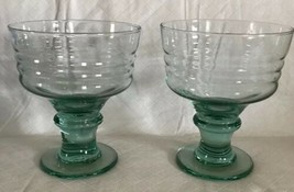 Set of 2 Pale Green RIBBED GLASS BERRY DESSERT BOWL DISHES Cocktail Thic... - $18.80