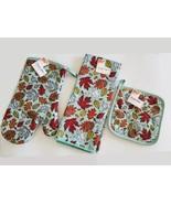 Fall Leaves Kitchen Set 3pc Towel Mitt Potholder Sea Blue Green Orange Leaf - $12.99