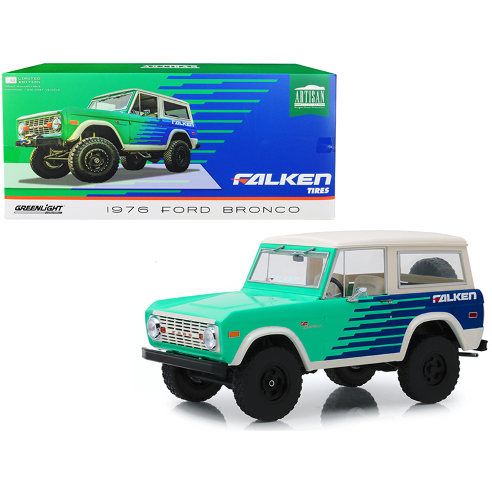 1976 Ford Bronco Green and Blue with Cream Top Falken Tires 1/18 Diecast Model C