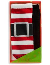 HUE 2-pack Footsie Socks Gift Box Santa Buckle Naughty Nice Stripe Black NEW image 1