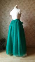 Womens Ruffle Maxi Tulle Skirt Floor Length Wedding Maxi Tulle Skirt GREEN Plus  image 5