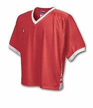 Men's  Champion Classic Mesh Lax V Neck Jersey Tee L  Red & White - $6.92