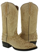 Mens Beige Casual Crocodile Head Cut Leather Rodeo Western Cowboy Boots - €129,11 EUR
