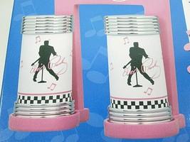Vtg 1997 Elvis Presley Salt & Pepper Shakers W/ Plastic Base Holder Fan ... - $19.64