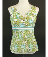ANN TAYLOR LOFT Size 8 Petite 8P Floral Print Sleeveless Shaped Empire Top - $15.99