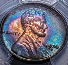 1930-S Lincoln Wheat Cent PCGS MS 65 RB  beautiful strike with amazing b... - $181.30