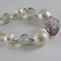 18K YELLOW GOLD BRACELET WITH BIG WHITE PEARLS AMETHYST PRASIOLITE MADE IN ITALY image 2