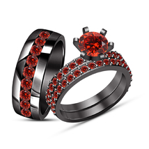 2.65Ct Red Garnet Wedding Engagement Bridal Ring 14K Black Gold Over Tri... - $164.98