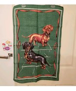 "Vintage Dachshund Irish Linen Towel 18"" x 28 1/2"" Signed Lamont - £17.85 GBP"
