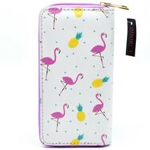 Bijorca Pink Flamingo & Pineapple Print Clutch Wallet New w Tags image 2