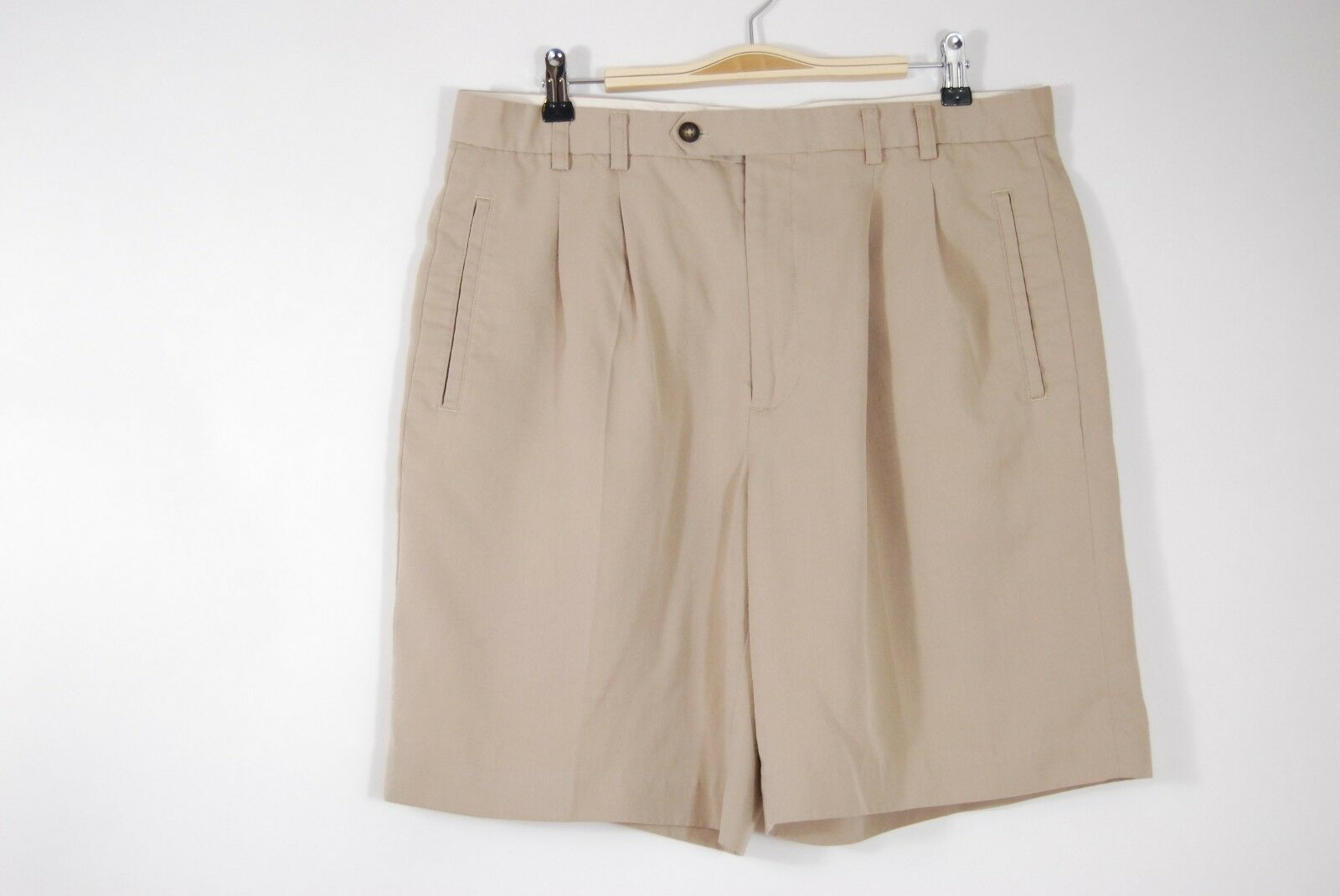 "Primary image for Cutter & Buck Mens Pleated Khaki Dress Shorts - no tag measures 35"" across waist"