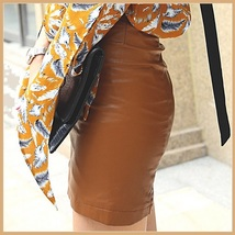 Clay Color Faux PU Leather Front Zip Up Petite Mini High Waist Pencil Skirt image 2