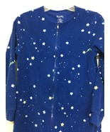 Nick & Nora Womens S Blue Stars One Piece Fleece Footed Pajamas Glow-In-... - $43.61