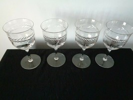 4 Vintage Fostoria Laurel  Goblets Optic Panels - $19.79