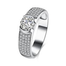 Eternity Rings 925 Silver with 2 Carat Cubic Zirconia in Central - $36.99