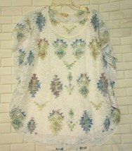 Lavish XL White Green Blue Purple Lace Lined Flutter Sleeve Over Blouse Top - $12.53