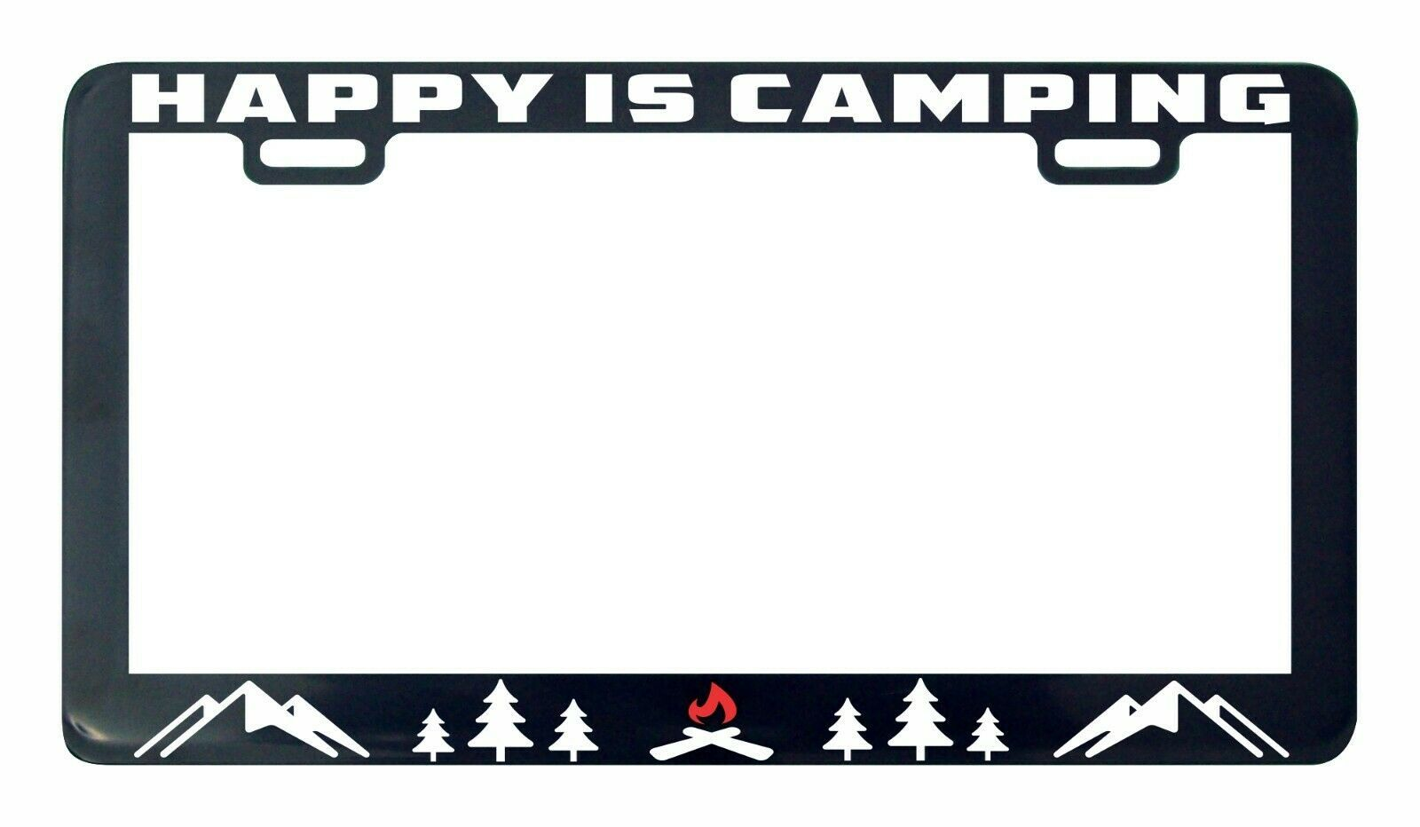 Primary image for Happiness is camping Adventure Awaits license plate frame holder tag