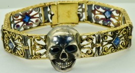 ONE OF A KIND Victorian 22k gold&Sapphire Memento Mori Skull bracelet.Po... - $8,400.00