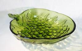 Vintage Indiana glass serving bowl olive green grape embossing strawberr... - $52.47
