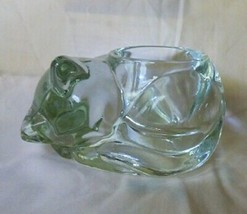 1970-80s AVON Curled-up Cat Clear Votive Candle Holder made by Indiana G... - $10.00