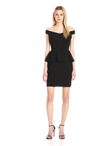 Adrianna Papell Women's Off the Shoulder Banded Peplum Dress, Black, 8 - $93.60